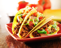 Three beef tacos with cheese, lettuce and tomatoes Royalty Free Stock Image