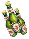 Three beer bottles with labels isolated on white. Royalty Free Stock Images