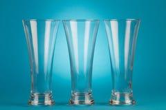 Three beer empty glasses Royalty Free Stock Photo