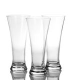 Three beer empty glasses Stock Photo