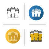 Three beer glasses icon Stock Photography
