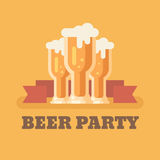 Three beer glasses on orange background. Flat illustration. Beer party banner Royalty Free Stock Photo