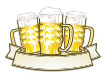 Three beer mugs Royalty Free Stock Images