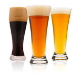 Three Beers on White Royalty Free Stock Images