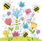 Three bees. Illustration of garden full of flowers and three bees Stock Photography