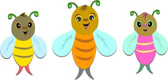 Three Bees in Line Royalty Free Stock Image