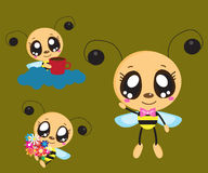Three bees. Network with three cheerful bees for a good mood Royalty Free Stock Image