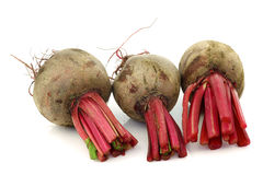 Three beetroots with part of foliage Stock Photography