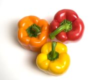 Three Bell Peppers. Fresh and colorful bell peppers. View from the top Royalty Free Stock Photos