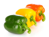 Three bell peppers isolated Stock Image
