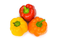 Three bell peppers isolated. On the white Stock Image