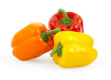 Three bell peppers isolated on white. With clipping path royalty free stock photos