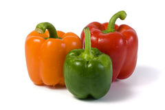 Three bell peppers isolated on white Stock Image