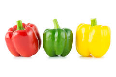Three bell peppers. Isolated on white background Stock Images