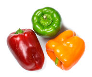 Three bell peppers isolated on white background Stock Image
