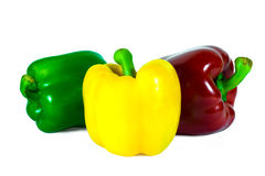 Three bell peppers isolated on white background Stock Images