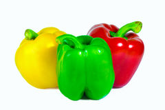 Three bell peppers isolated on white background Royalty Free Stock Photos