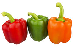 Three bell peppers over white Royalty Free Stock Photography