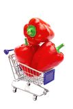 Three Bell Peppers in shopping  cart Stock Photo
