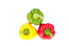 Three bell peppers stacked Stock Image