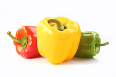 Three bell peppers on white Stock Photo
