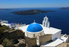 Three Bells Church at Santorini, Greece. Thira, Volcano, Aegean . Three Bells Church at Santorini, Greece. Thira, Volcano, Aegean. Blue Sea, Blue Sky, Blue Dome royalty free stock photography
