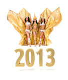 Three belly dancers with 2013 New Year gold sign. Isolated on white royalty free illustration
