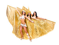 Three belly dancers with golden wings Stock Photo