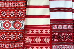 Three belorussian woven towel with multicolored geometric patter Royalty Free Stock Image