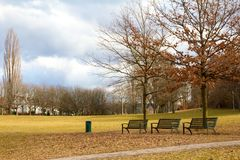 Three benches Stock Image