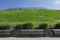 Three benches in front of a grassy hill Stock Photography