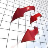 Three bended arrows Royalty Free Stock Photo