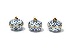 Three benjarong. S are the thai-chinese ceramic style Royalty Free Stock Images