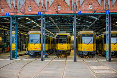Three Berlin trams Royalty Free Stock Photos
