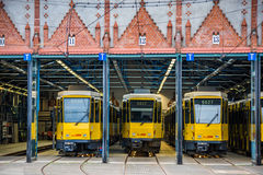 Three Berlin trams Royalty Free Stock Image