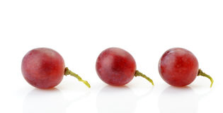 Three berries of red grapes abreast Stock Images