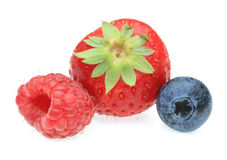 Three berry fruits. Three berry fruit photographed in a studio against a white background Stock Photo