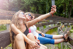 Three best friends taking a selfie Royalty Free Stock Image