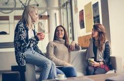 Three best friends. Young women having conversation. stock photo