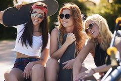 Three best girlfriends Stock Images