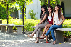 Three best girlfriends in the garden Royalty Free Stock Images