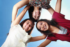 Three best girlfriends having fun under the sun Stock Photography