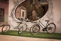 Three bicycle,vintage effect filter Royalty Free Stock Images