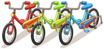 Three bicycles in different colors Royalty Free Stock Photos