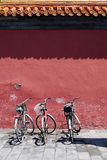 Three bicycles under old wall Royalty Free Stock Photo