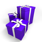 Three big blue presents. Three Big blue gift boxes with a white ribbons on a neutral background Stock Illustration