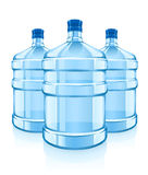 Three big bottles with clean blue water drink Stock Photos