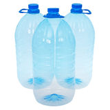Three big bottles of water (Clipping path) Royalty Free Stock Images