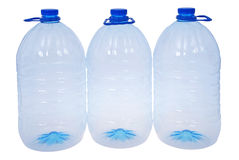 Three big bottles of water (Clipping path) Stock Images