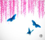 Three big blue butterflies and pink wisteria flowers. Traditional oriental ink painting sumi-e, u-sin, go-hua. Three big butterflies and pink wisteria flowers Stock Image